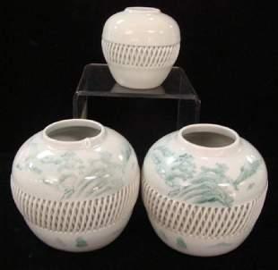 Three Mid Century Japanese Imari Woven Lattice Vases