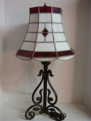 Leaded Glass Shade on Wrought Iron Base Table Lamp