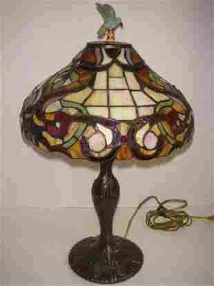 Leaded Glass Shade with Bird Finial Table Lamp