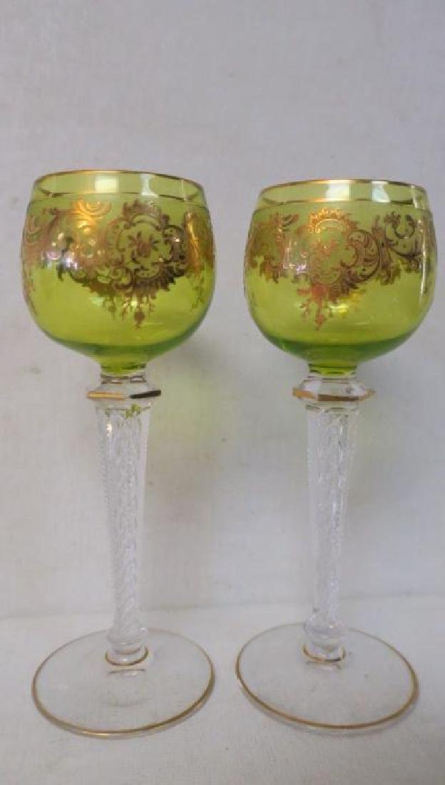 Pair of MOSER Cut Glass Hock Wine Stems: