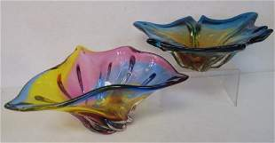 Two Murano Glass Free Form Bowls