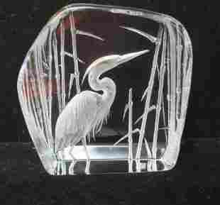 MATS JONASSON 3D Crystal Sculpture of Crane