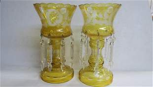 Pair of Amber CZECH Bohemian Lusters