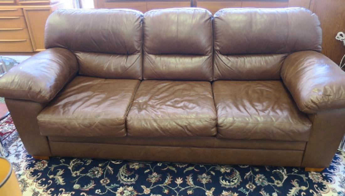 Chocolate Three Cushion Leather Sofa: