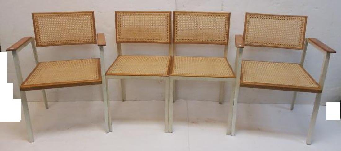 4 HERMAN MILLER Meta,l Cane & Wood Dining Chairs: