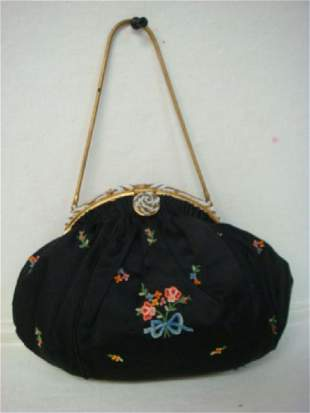 Black Faille Embroidered French Evening Purse