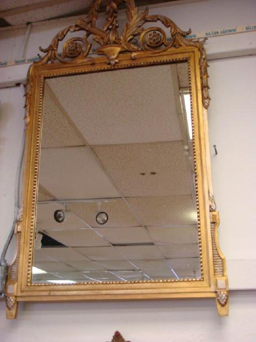 Neoclassical Giltwood Frame Plate Glass Wall Mirror: