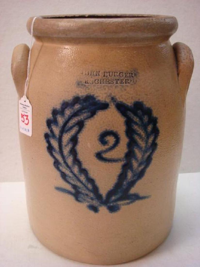 Two Gallon JOHN BURGER ROCHESTER Stoneware Crock: