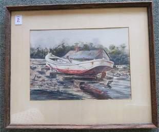 WAYNE FULCHER Workboat Watercolor on Paper