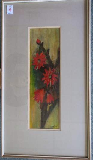 VANCE MITCHELL Oil on Paper Red Gerbera Daisy