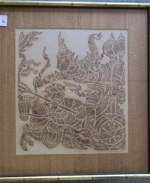 Buddhist Temple Ink Rubbing on Rice Paper