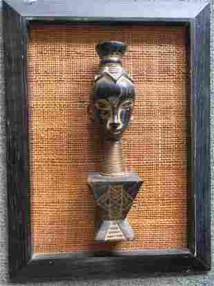 Framed Carved Bust of African Woman with Neck Rings