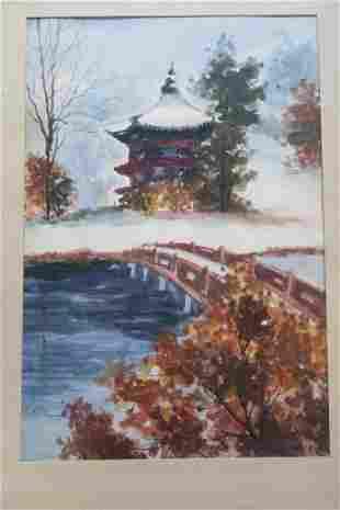 Asian Watercolor Landscape Signed HAN SIK