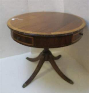 Mahogany Four Drawer Round Pedestal Table