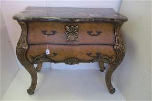 Marble Top Two Drawer Bombe Style Chest