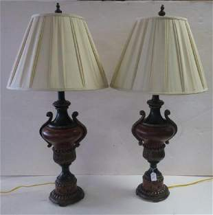Pair of Composition Urn Shape Table Lamps