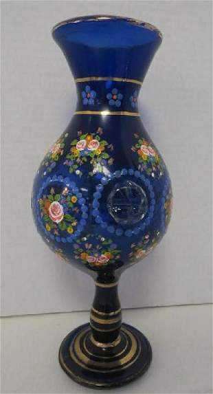 Cobalt Glass Footed Vase with Enamel Flowers
