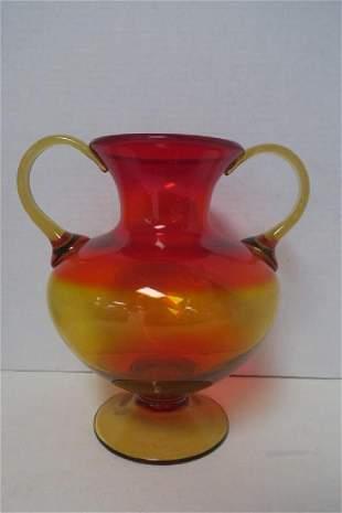 Large BLENKO Amberina Double Handled Vase
