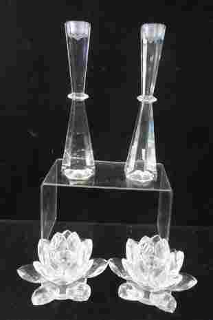 Two Pairs of Crystal Candle Holders