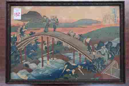 Colored Woodblock Print by HOKUSAI KATSUSHIKA: