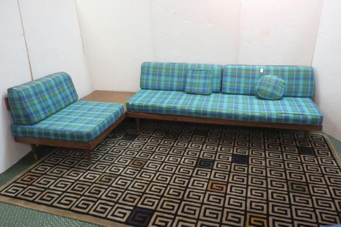 Mid-Century Modern Plaid Couch & Chair with Table: