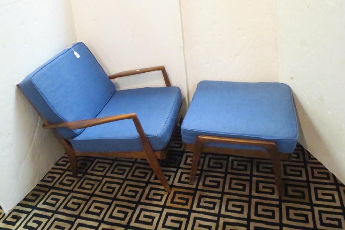 Mid-Century Modern Upholstered Blue Chair & Ottoman: