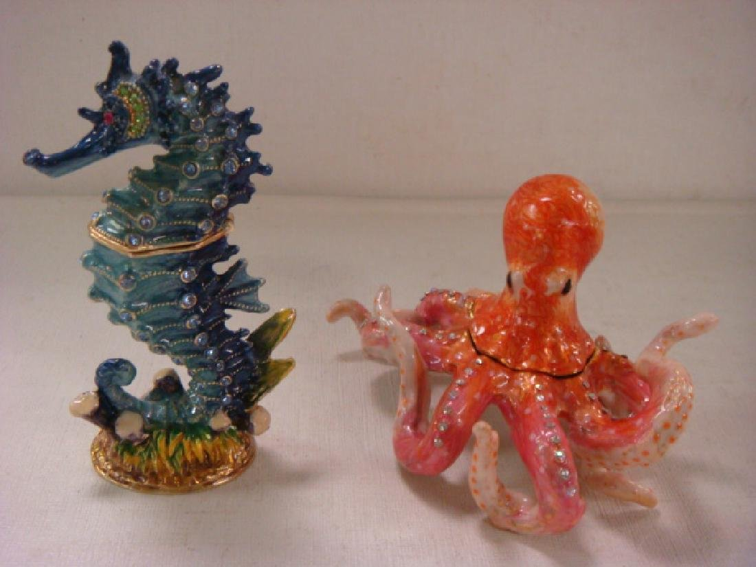 Two Enameled and Jeweled Sea life Trinket Boxes: