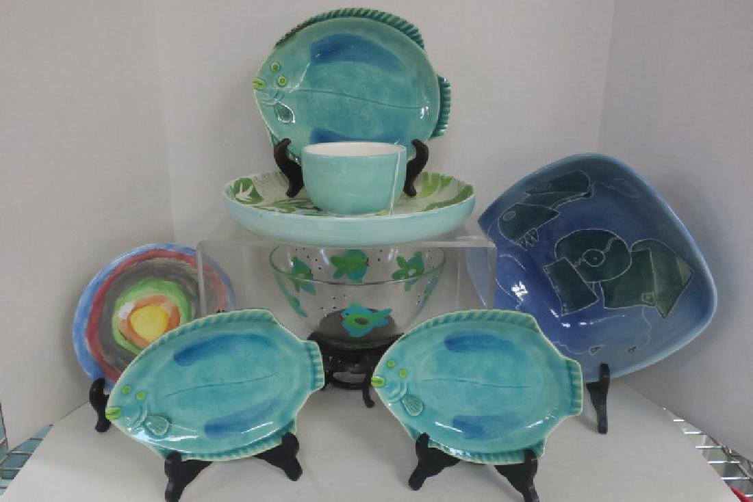 Eight Pc. Hand Painted Ceramics and Glass Bowl: