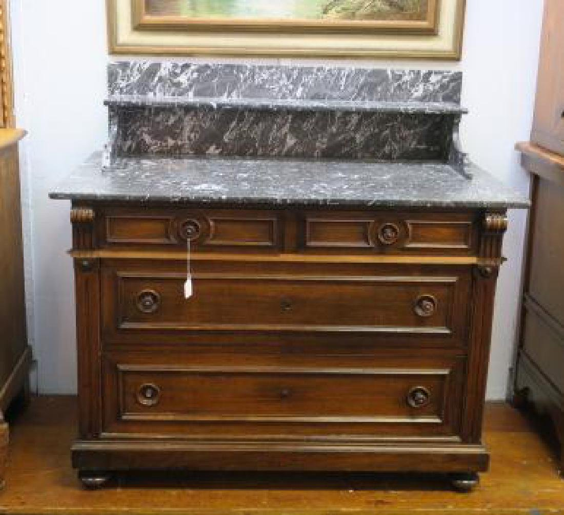 Victorian Dresser with Marble Top and Backsplash: