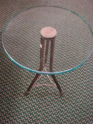 Round Modernist Glass and Metal Occasional Table