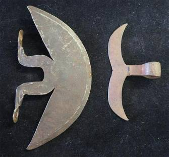 Two Medieval Style Iron Crescent Fighting Axe Heads