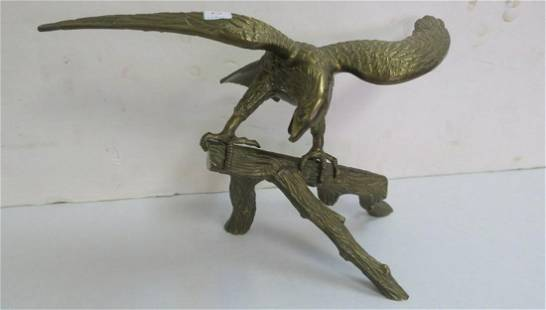 Brass Eagle Statue Perched on Branch