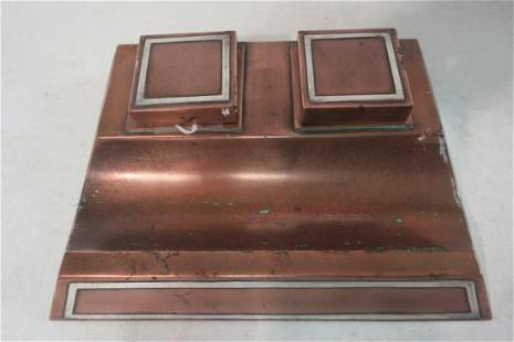 HEINTZ Arts Crafts Sterling on Bronze Double Inkwell