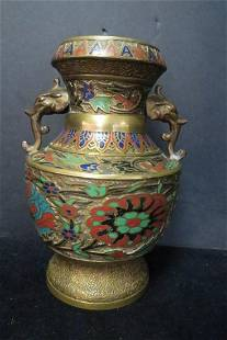 Early Japanese Champlev Bronze Vase