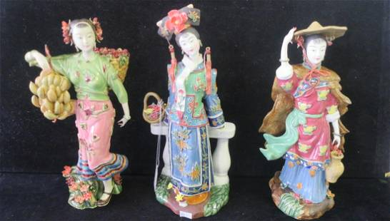 Three Hand painted Asian Women Pottery Figurines
