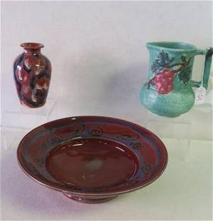 Art Pottery Pitcher Vase and Bowl