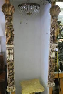 Two Concrete Ornamental Figural Pilasters