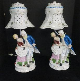 Pair of Romantic Colonial Figural Lamps wShades