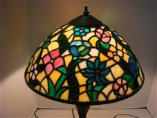 Table Lamp with Dome Shaped Floral Leaded Glass Shade: