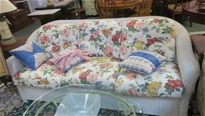 Six Cushion LLOYD LOOM White Sofa & Rolling art: