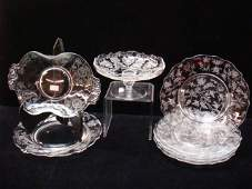Eight Etched Elegant Glass Serving Pieces