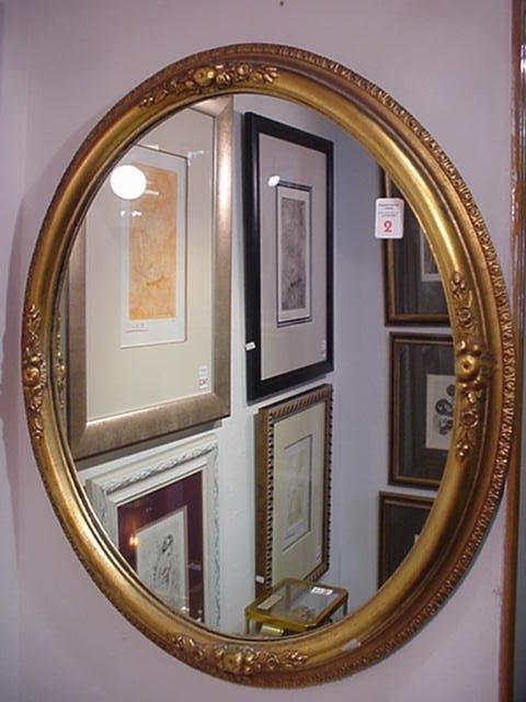 2: Oval Gilt Carved Floral Framed Mirror: