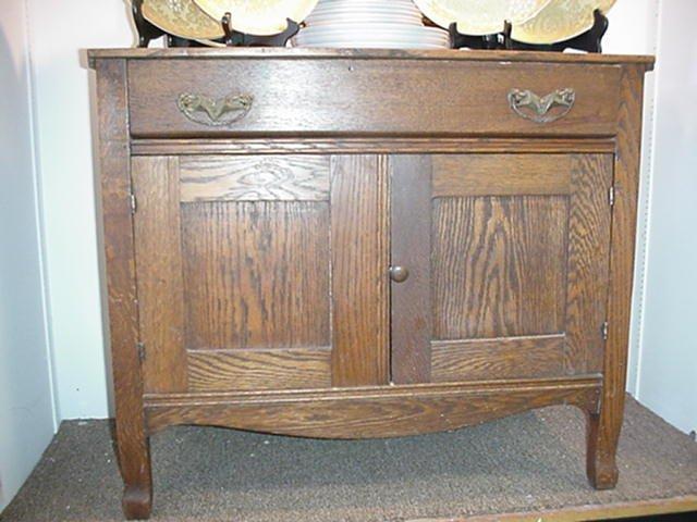 3: Oak Single Drawer, Double Door Washstand: