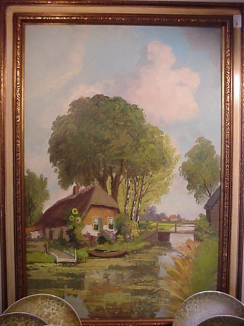 4: Au Veer Signed Dutch Landscape Oil on Canv