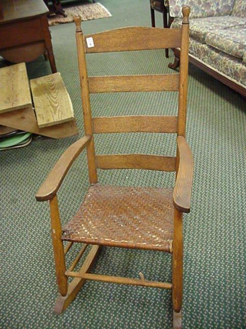 6: Oak Ladderback Rocker with Woven Seat: