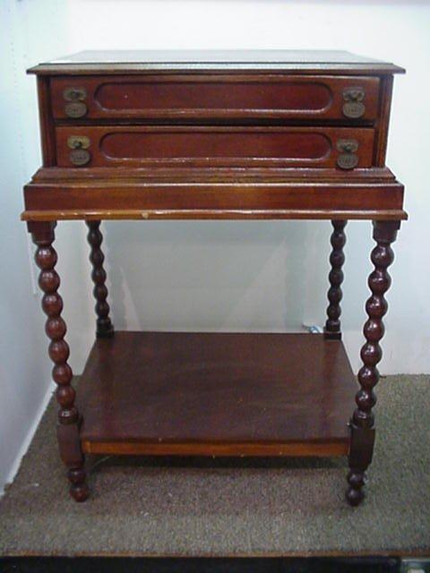 7: 2 Piece Oak Spool Cabinet on Custom Stand: