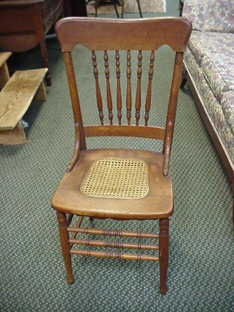 11: 3 Oak Spindle Back with Cane Seat Chairs: