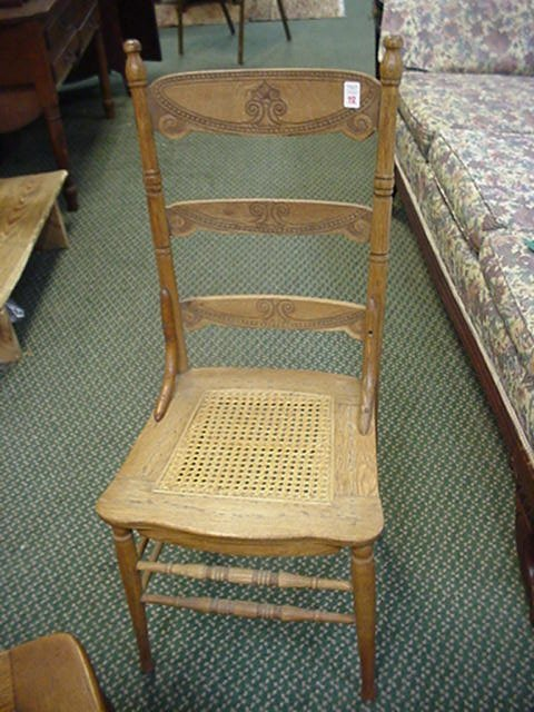 12: 3 Oak Pressed Back with Cane Seat Chairs:
