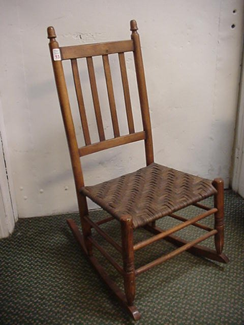 15: Oak Slat Back Rocker with Woven Seat: