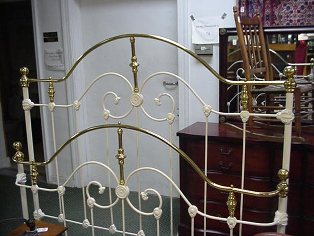 16: Full Size Brass and Iron Fender Bed:
